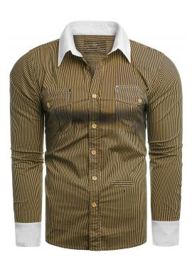 Velbloudí pásikavá košile s kapsami na hrudi pro pány