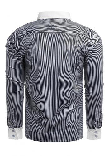 Pásikavá pánská košile tmavě modré barvy s kapsami na hrudi