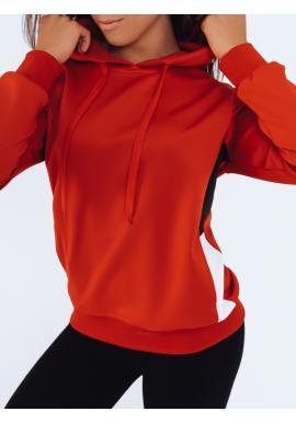 Sportovní dámská mikina červené barvy s kapucí