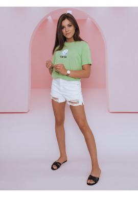Klasické dámské tričko světle zelené barvy s potiskem