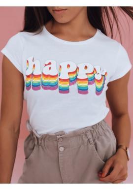 Dámské bavlněné trička s potiskem v bílé barvě