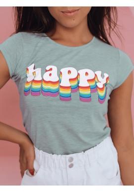 Bavlněné dámské tričko mátové barvy s potiskem