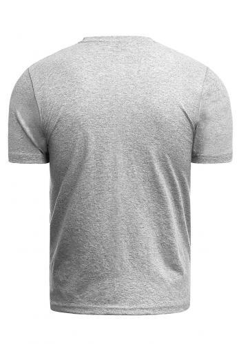 Pánské klasické tričko s potiskem v šedé barvě