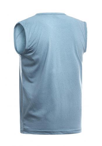Pánské bavlněné tričko s potiskem v světle modré barvě