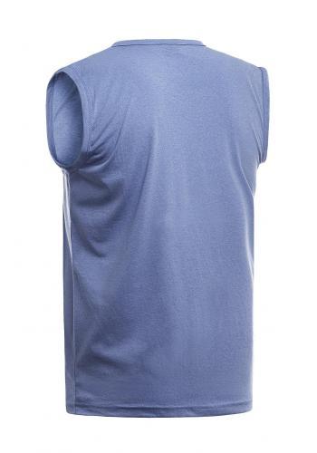 Modré bavlněné tričko s potiskem pro pány
