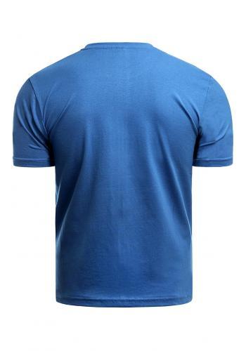 Tyrkysové bavlněné triko s krátkým rukávem pro pány