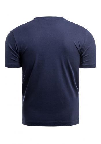 Tmavě modré bavlněné triko s krátkým rukávem pro pány