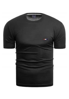 Pánské bavlněné tričko s krátkým rukávem v černé barvě