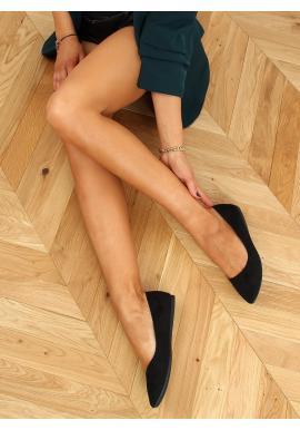 Dámské semišové balerínky v černé barvě