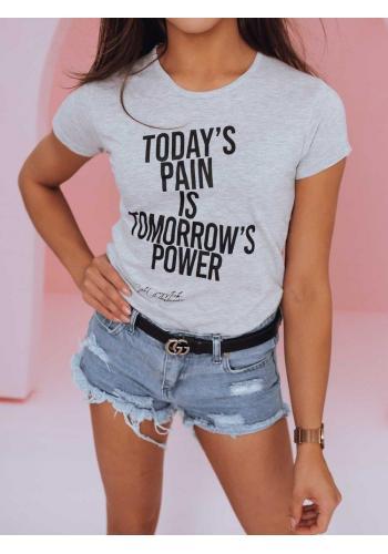 Dámské klasické tričko s módním potiskem v světle šedé barvě