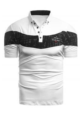 Stylová pánská polokošile bílé barvy s kontrastním pásem