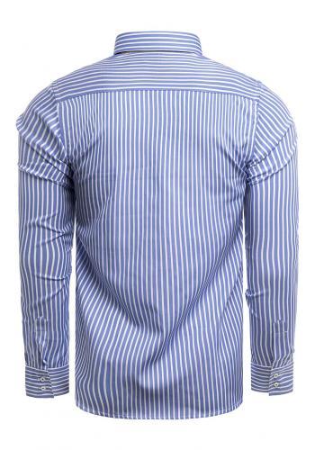 Pásikavá pánská košile modro-bílé barvy s dlouhým rukávem