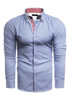 Pánské proužkované košile s dlouhým rukávem v modro-bílé barvě