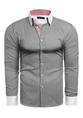 Černobílá pásikavá košile s dlouhým rukávem pro pány