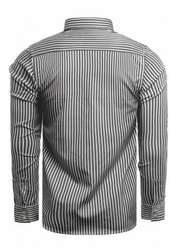 Pásikavá pánská košile černo-bílé barvy s dlouhým rukávem