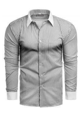 Pánská pásikavá košile s dlouhým rukávem v bílé barvě