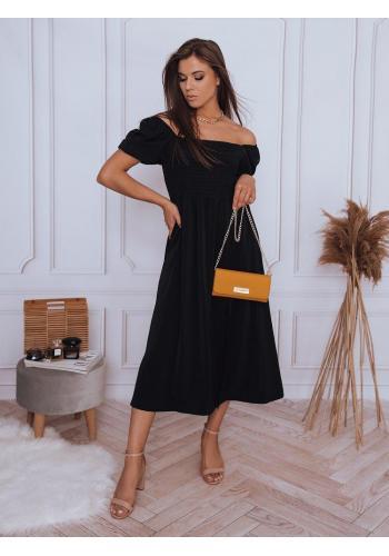 Midi dámské šaty černé barvy s rozparkem