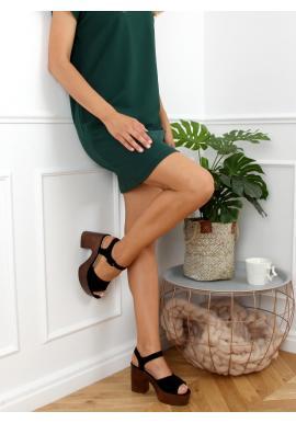 Semišové dámské dřeváky černé barvy se širokým podpatkem