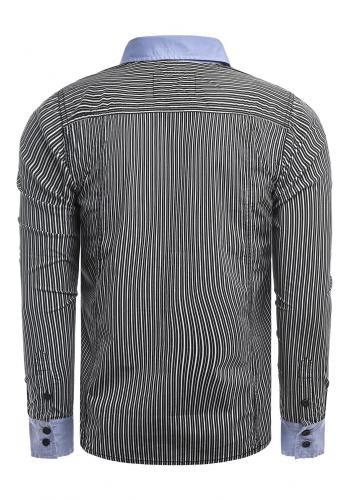 Pánské proužkované košile s kapsami na hrudi v černé barvě