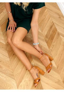 Hnědé semišové sandály na stabilním podpatku pro dámy