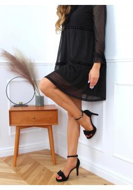 Černé semišové sandály na podpatku pro dámy