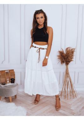 Maxi dámská sukně bílé barvy s krajkovým detailem