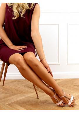 Růžové stylové sandály se zlatou řetízkem pro dámy