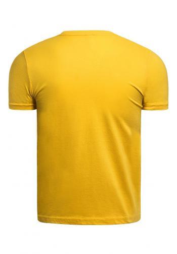 Pánské klasické tričko s potiskem ve žluté barvě