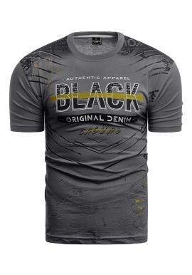 Klasická pánská trička tmavě šedé barvy s potiskem