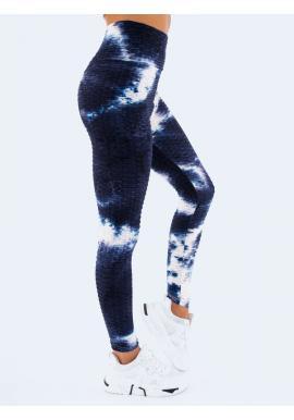 Tmavě modré stylové legíny s vysokým pasem pro dámy