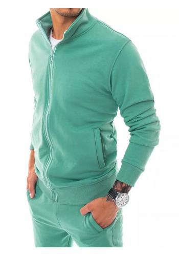 Zapínaná pánská mikina zelené barvy s límcem