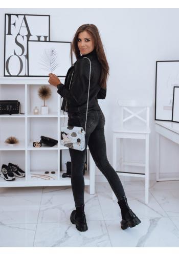Černá koženková bunda pro dámy