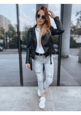 Koženková dámská bunda černé barvy s páskem