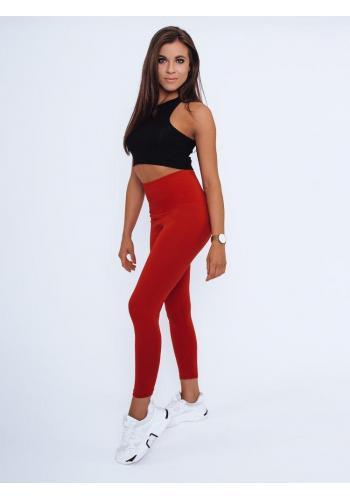 Klasické dámské legíny červené barvy s vysokým pasem