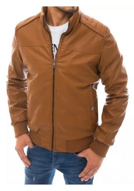 Kožená pánská bunda hnědé barvy s kožešinou