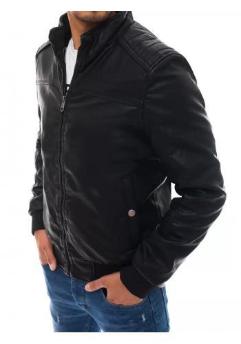 Pánské kožené bundy s kožešinou v černé barvě