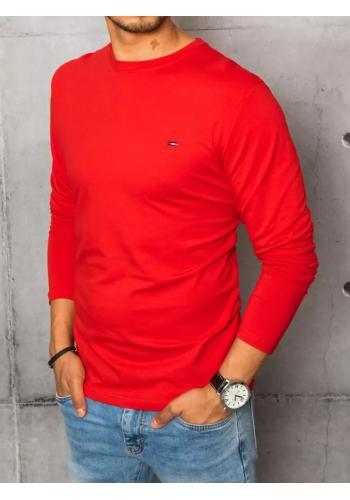 Červené hladké triko s dlouhým rukávem pro pány