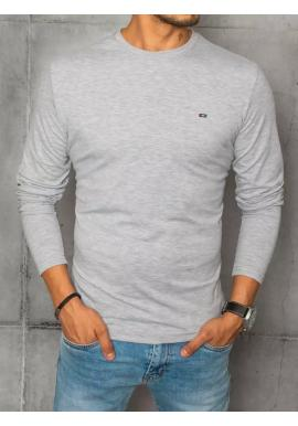 Hladké pánské tričko šedé barvy s dlouhým rukávem