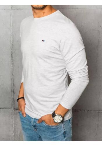 Pánské hladké tričko s dlouhým rukávem v světle šedé barvě
