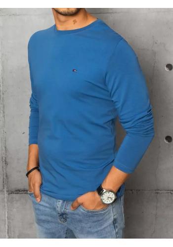 Modré hladké triko s dlouhým rukávem pro pány