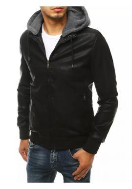 Černá oteplená kožená bunda s odepínací kapucí pro pány