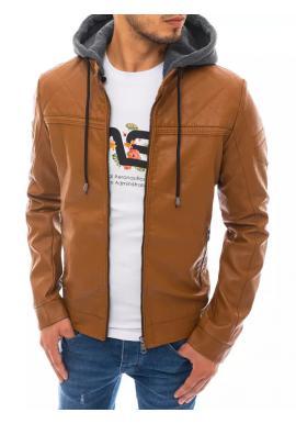 Pánská kožená bunda s teplákovou kapucí v khaki barvě