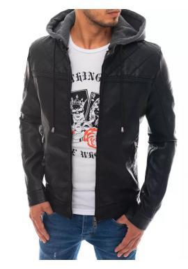 Černá kožená bunda s teplákovou kapucí pro pány