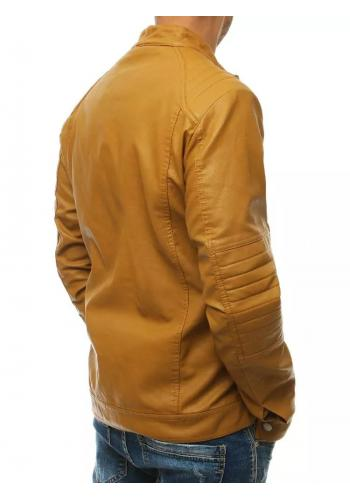 Kožená pánská bunda khaki barvy s prošívanými detaily