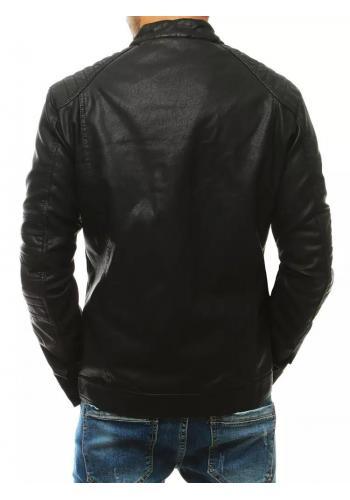 Pánské kožené bundy s prošívanými detaily v černé barvě