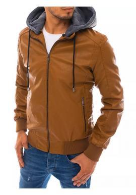 Khaki kožená bunda s odepínací kapucí pro pány