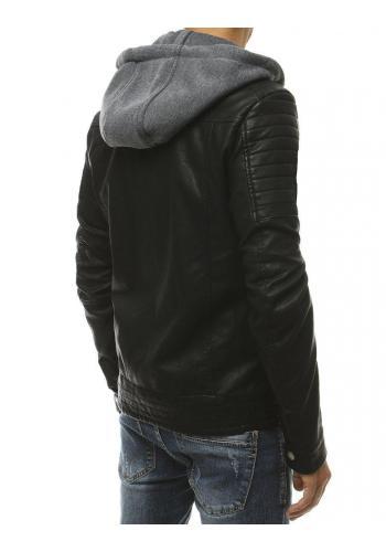 Pánská kožená bunda s prošívanými detaily v černé barvě