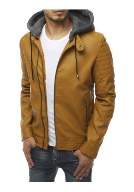 Khaki kožená bunda s prošívanými detaily pro pány