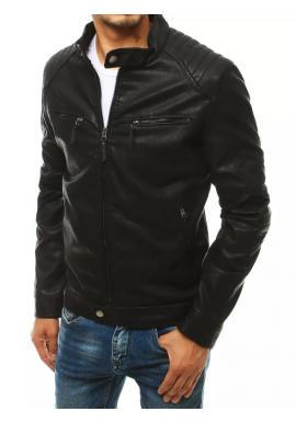 Oteplená pánská kožená bunda černé barvy