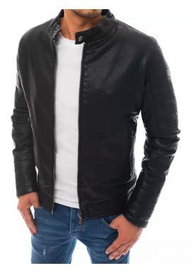 Pánská oteplená kožená bunda s prošíváním v černé barvě